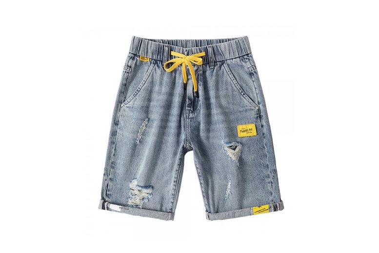 Hangzhou-Yuxi-Trade-Co.,Ltd-Mens-Elastic-Waist-Denim-Shorts-2