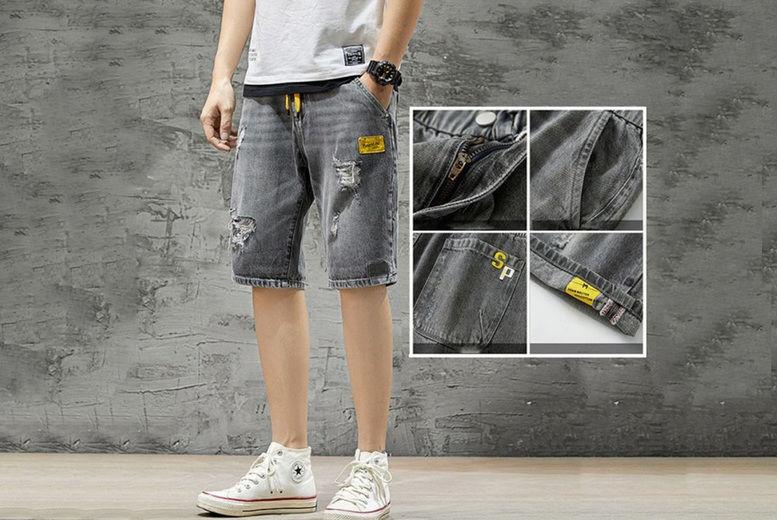 Hangzhou-Yuxi-Trade-Co.,Ltd-Mens-Elastic-Waist-Denim-Shorts-3