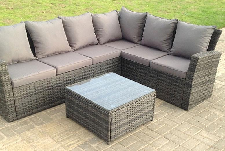 6 Seater Rattan Garden Furniture Set, Grey Rattan Outdoor Furniture Set