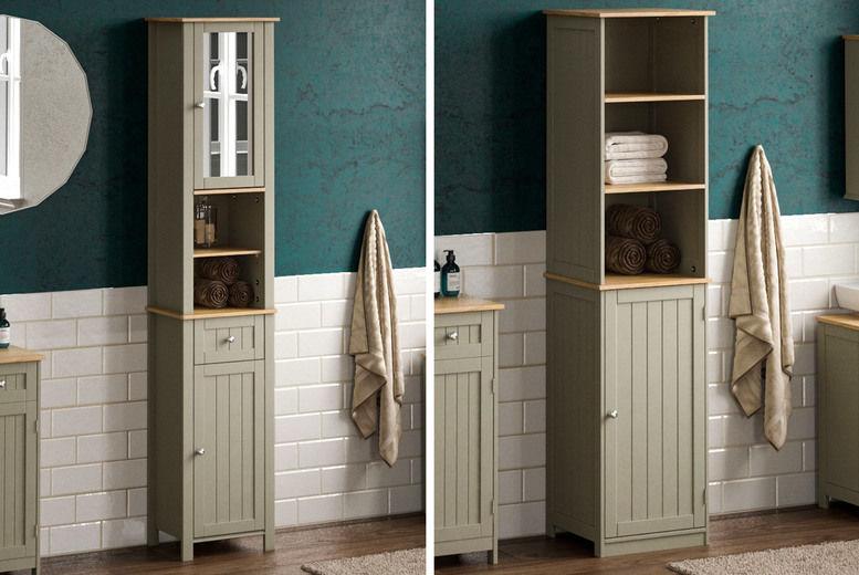 Tall Grey Bathroom Cabinets Offer Wowcher, Bathroom Tall Cabinets