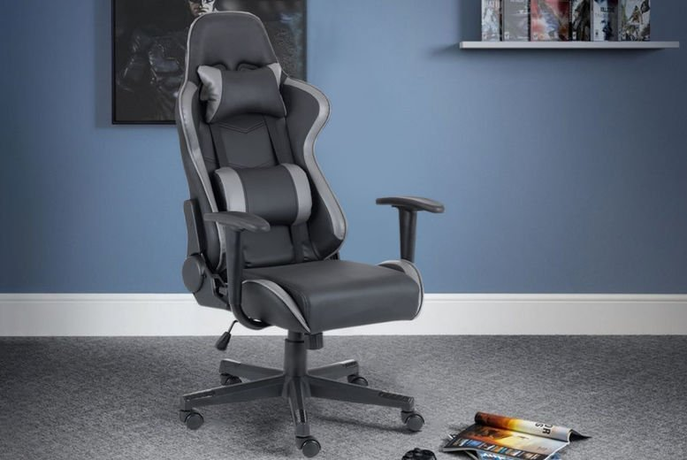 Sleek-Gaming-Chair-Black-and-Grey-Faux-Leather-1