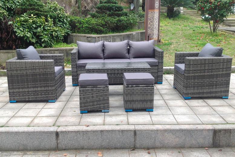 7 Seater Rattan Garden Furniture Set, Grey Rattan Garden Furniture Sets Uk