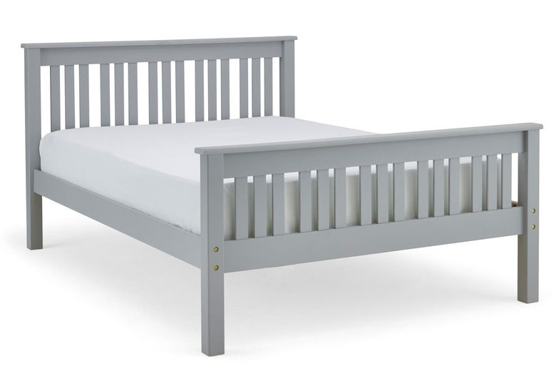 4ft-Double-Solid-grey-Pinewood-Bed-Frame-with-Memory-Foam-Sprung-Mattress-