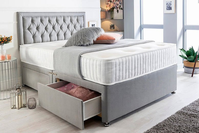 The-Hudson-Grey-Suede-Divan-Bed-With-10'-Memory-Foam-Mattress-1