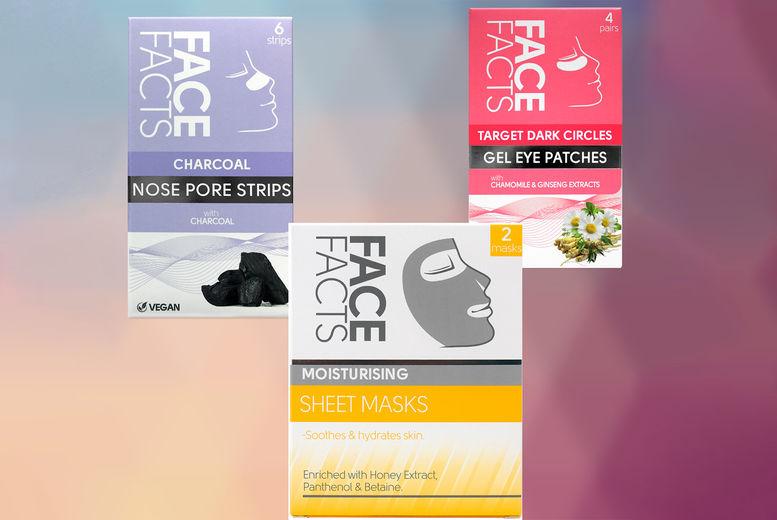 Moisturising-Sheet-Mask-x2,-Dark-Circle-Eye-Patches-x-4,-Charcoal-Nose-Strips-x-6