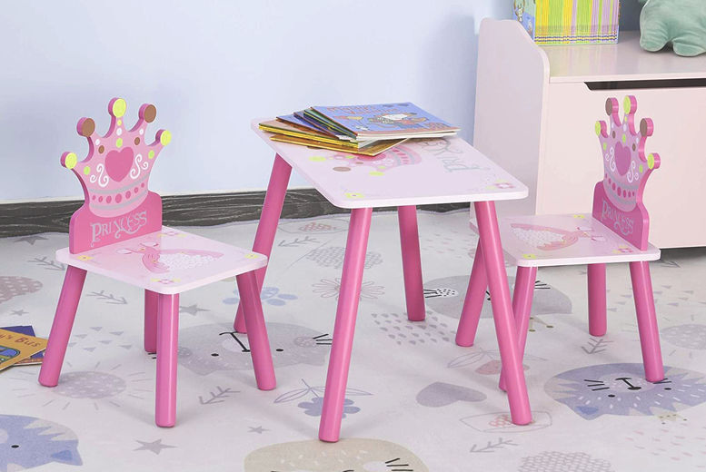 Kids-Wooden-Table-Chair-With-Crown-Pattern-Gift-1
