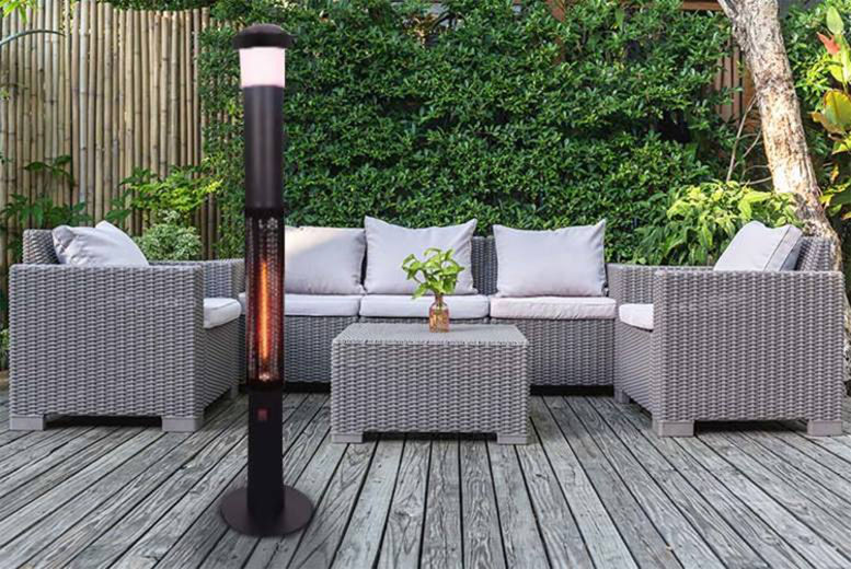 Groundlevel Patio Electric Heater with led light and bluetooth speaker with low lead 4