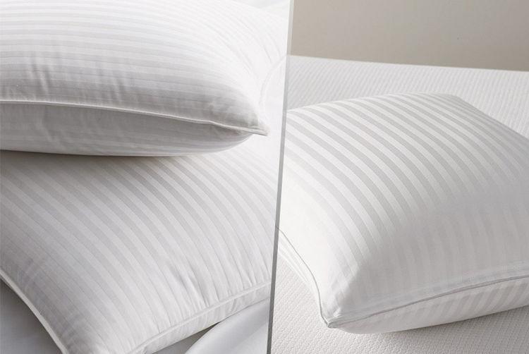 4 bounce back satin stripe pillows shop wowcher. Black Bedroom Furniture Sets. Home Design Ideas