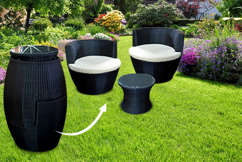 3pc Stackable Rattan Garden Set