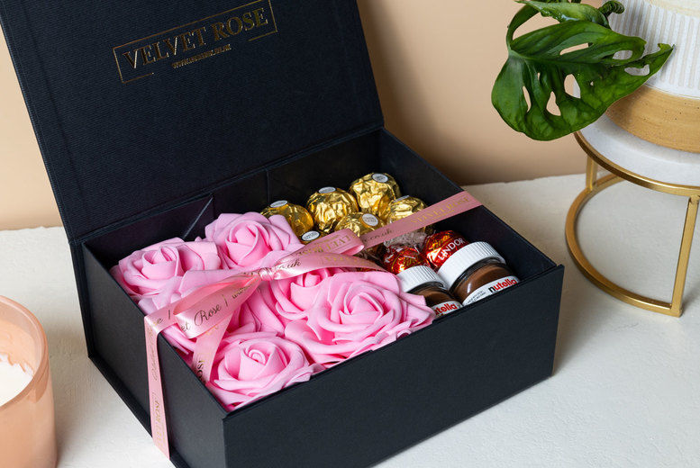 Chocolate & Artificial Roses Gift Box Deal