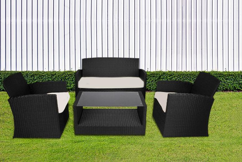 4 piece rattan garden furniture set shop wowcher Rattan Garden Furniture UK comfy living rattan garden furniture 4 piece set