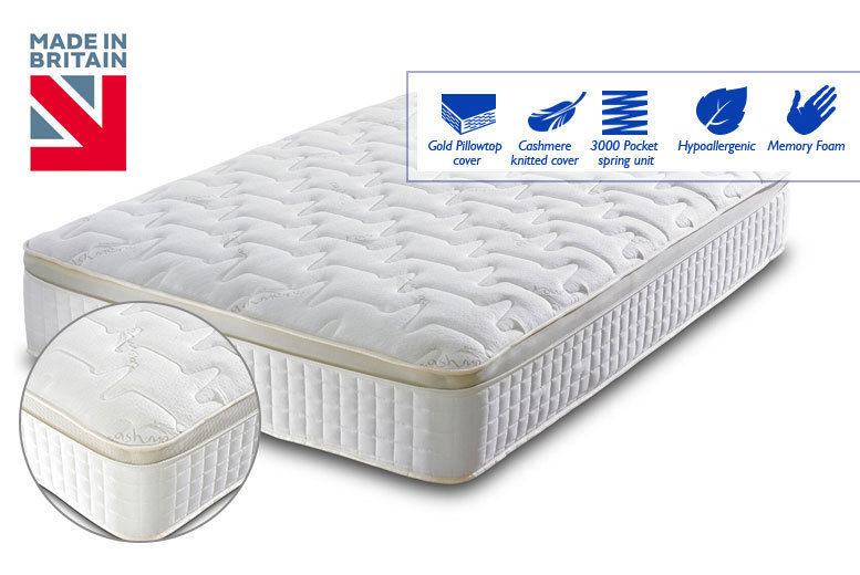 new arrival 651c3 45187 Luxury Cashmere 3000 Pocket Sprung Pillow Top Mattress ...