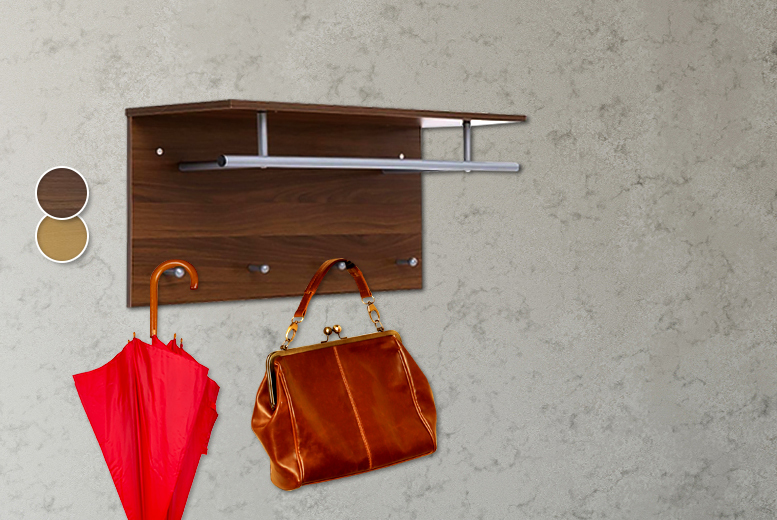 wall mounted clothes rail shelf shop wowcher. Black Bedroom Furniture Sets. Home Design Ideas