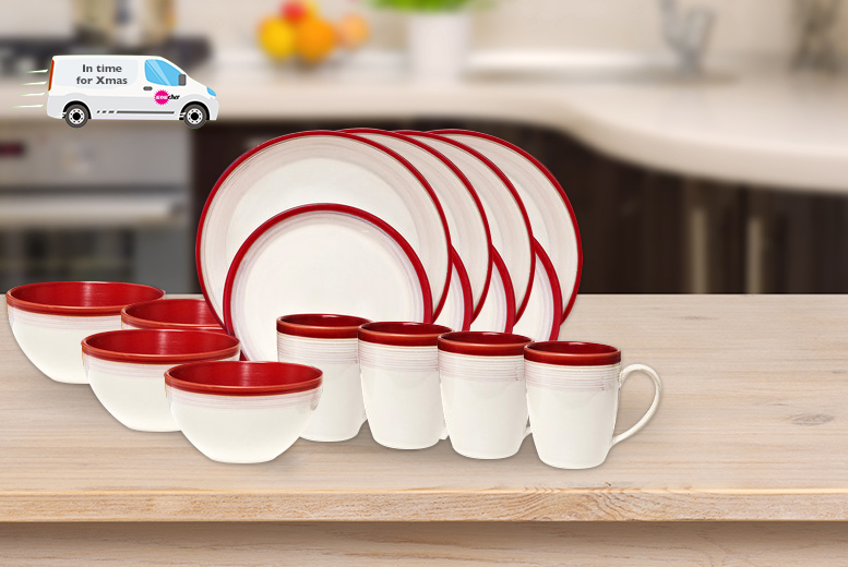 DENBY_16PC_STONEWARE_SET_RED & 16pc Denby Stoneware Dinner Set | Shop | Wowcher