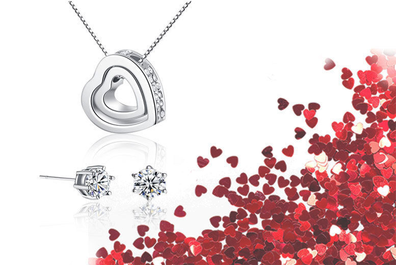 e36411caf453 Heart Pendant Necklace   Earrings Made with Crystals from Swarovski ...