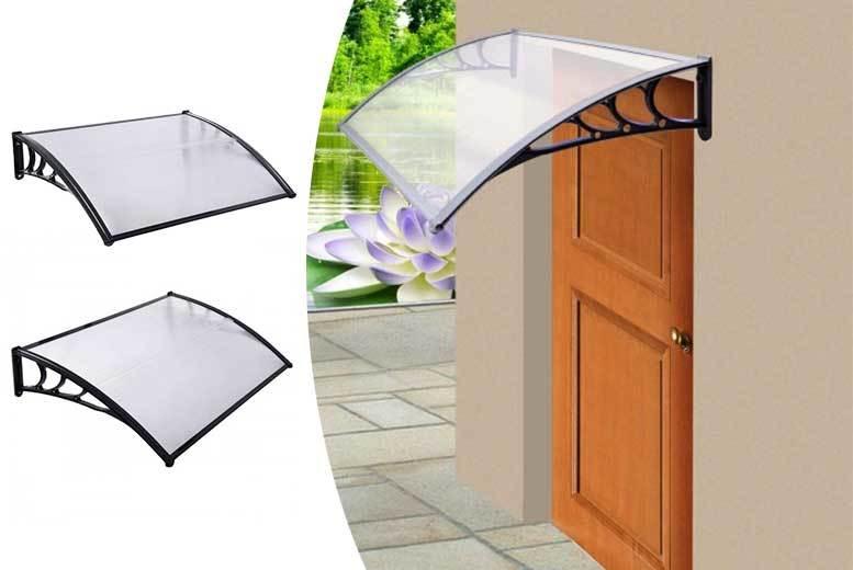 8d9ceb08cd8d 23cm x 75cm x 120cm Black Aluminium Door Canopy