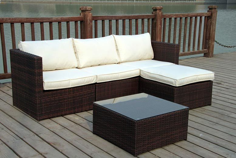 Rattan Garden Corner Sofa Set - 2 Colours! | Shop | Wowcher