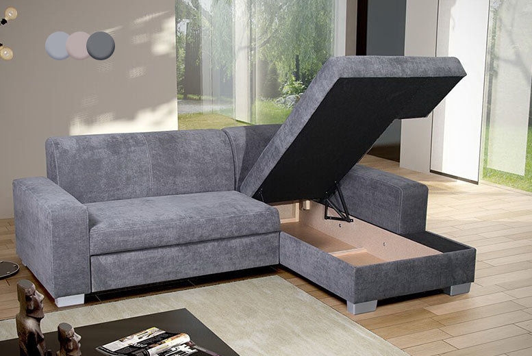 Corner Sofa Storage Bed - Left or Right Hand & 3 Colours ...