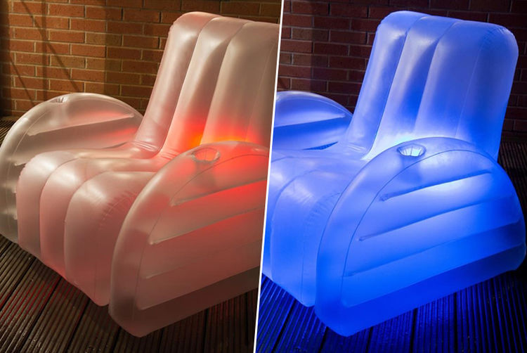 led inflatable chair lights up in 13 colours london south wowcher