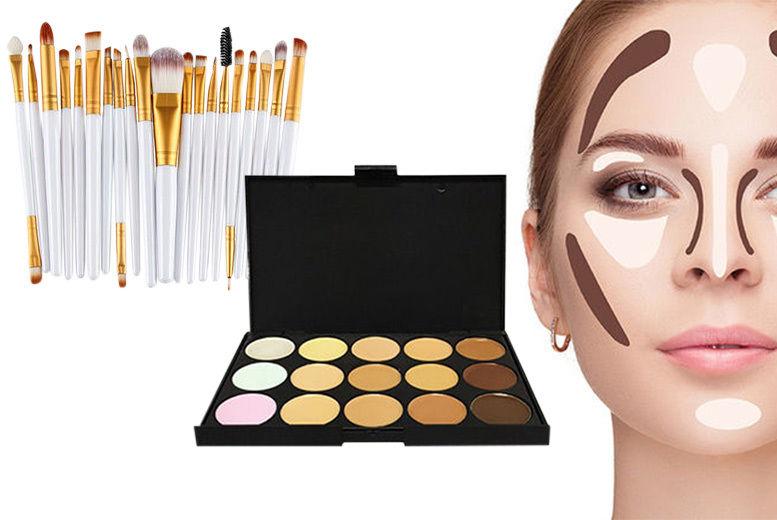 a9062931dbc3 15-Shade Contouring Palette & 20pc Makeup Brush Set   Glasgow   Wowcher
