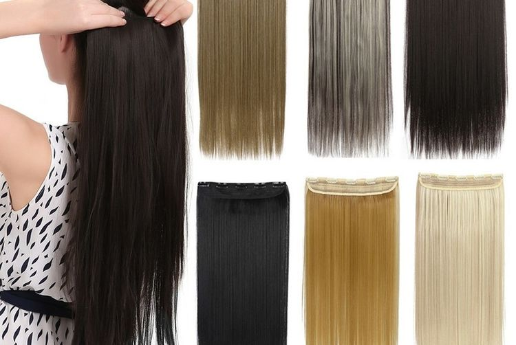 24 Straight 1pc Clip In Hair Extension With 3 Layers 25 Colours