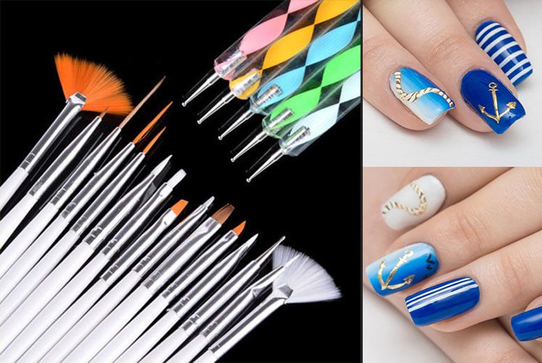 20pc Nail Art Design Brush Set Shop Wowcher