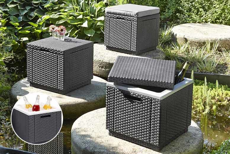 Brown Allibert by Keter Rattan Ice Cool Box Outdoor Garden Furniture 39 x 39 x