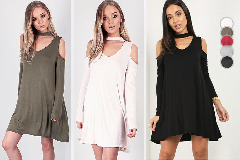 2b472376e360 Cold-Shoulder Choker Neck Swing Dress - 5 Colours!