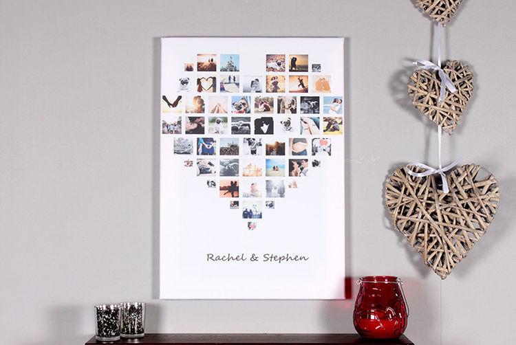 Heart Shaped Photo Collage Canvas A3 A2 Or A1 Shop Wowcher