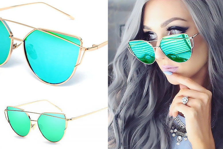 98fca2a68 £8 instead of £24.99 (from Treats on Trend) for green cat eye mirrored  sunglasses - save 68%