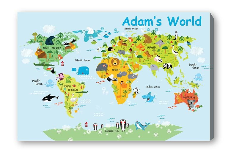 Personalised kids world map canvas shop wowcher deco matters personalised world map canvas for gumiabroncs Gallery
