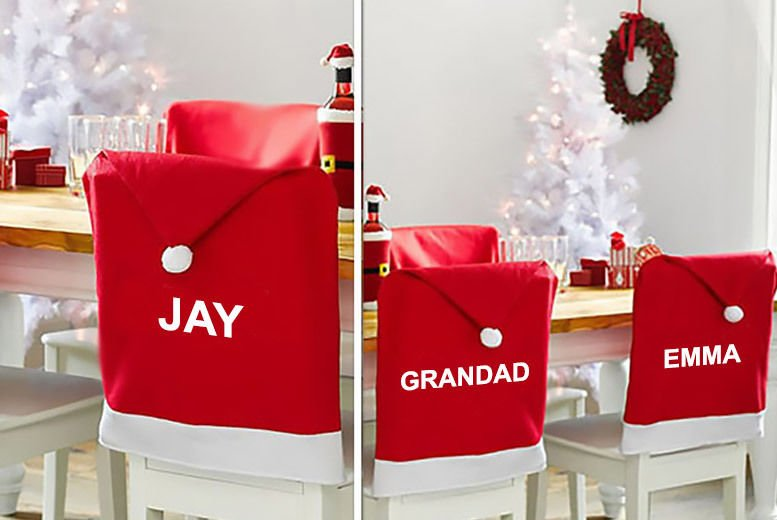 Outstanding Personalised Santa Hat Chair Cover 4 6 8 Or 10 Shop Squirreltailoven Fun Painted Chair Ideas Images Squirreltailovenorg