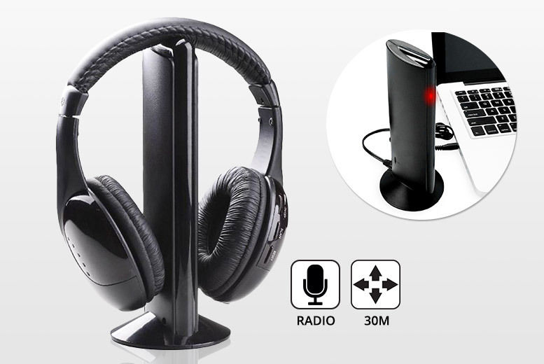 3addbc31098 Wireless Bluetooth Over-Ear Headphones with Stand | Shop | Wowcher