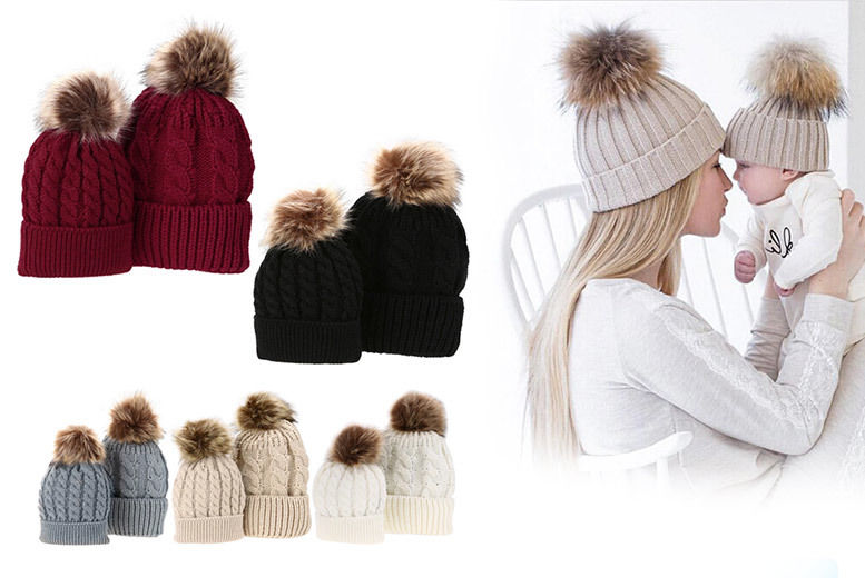 Mum and Baby Matching Pom Pom Hat Set - 6 Colours!  f0b8c7a604a