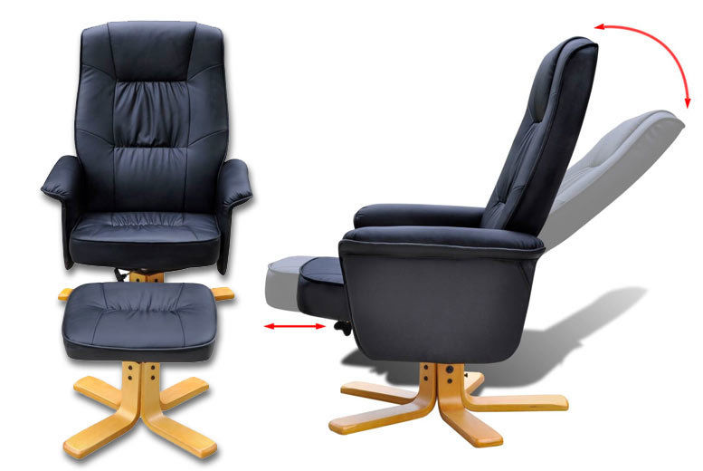 Faux Leather TV Armchair With Foot Stool   2 Colours! | Shop ...