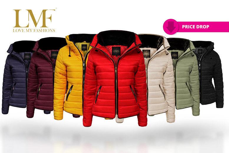NEW Womens Padded LADIES PARKA Fur Collar Warm JACKET WINTER COAT Size 8-16 CHIC