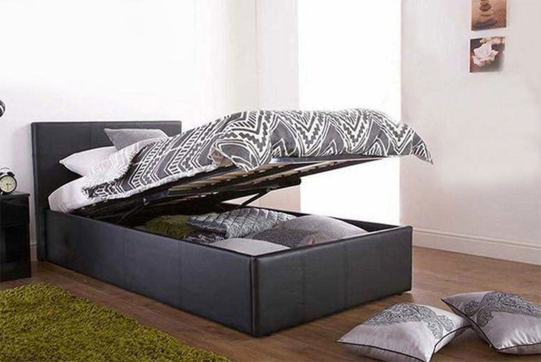 Faux Leather Ottoman Storage Bed with Optional Memory Foam Mattress