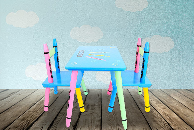 Peachy Kids Wooden Crayon Table Chairs Set Shop Wowcher Ocoug Best Dining Table And Chair Ideas Images Ocougorg