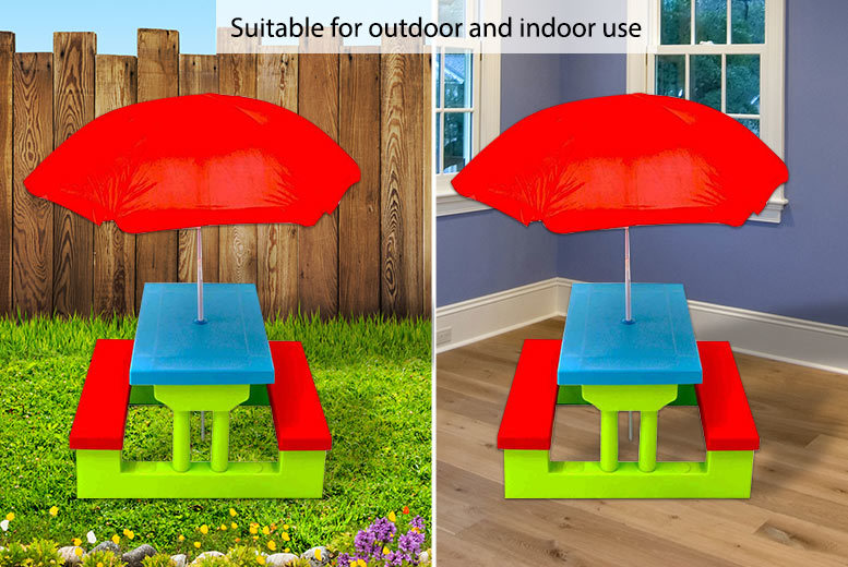Kids Outdoor Picnic Bench With Parasol Garden Furniture Deals In - Picnic table parasol