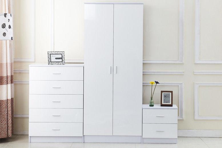 3pc High Gloss White Bedroom Furniture Set | Shop | Wowcher