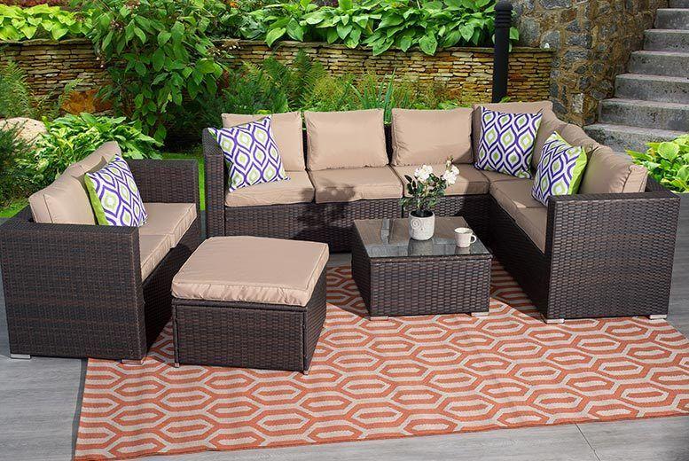 d6421b69f483 ... Nine-Seater Rattan Corner Garden Furniture Set in Brown set up outside