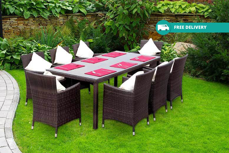 8 seater rattan dining set table chairs cushions shop wowcher