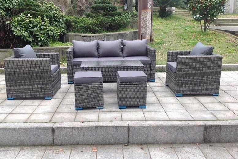 Pleasing 7 Seater Rattan Garden Furniture Set With Ottoman Table Lamtechconsult Wood Chair Design Ideas Lamtechconsultcom