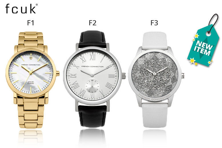 47781cd3d30 From £25 instead of £55.01 for a ladies' French Connection watch from Deals  Direct - choose from three designs and save up to 58%