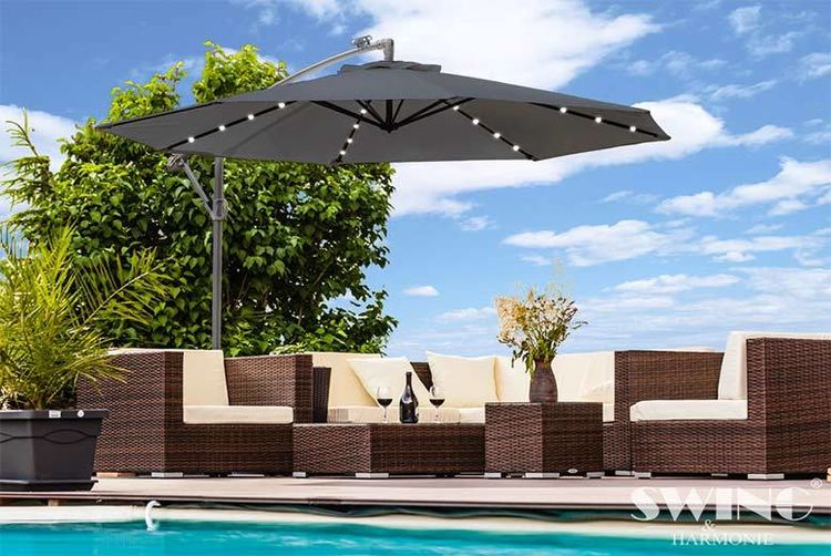 Exceptional ... XL LED Garden Parasol   Black ...