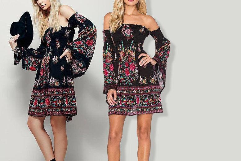 752c25dccff Flare-Sleeved Off Shoulder Boho Summer Dress - UK Sizes 8-16 ...