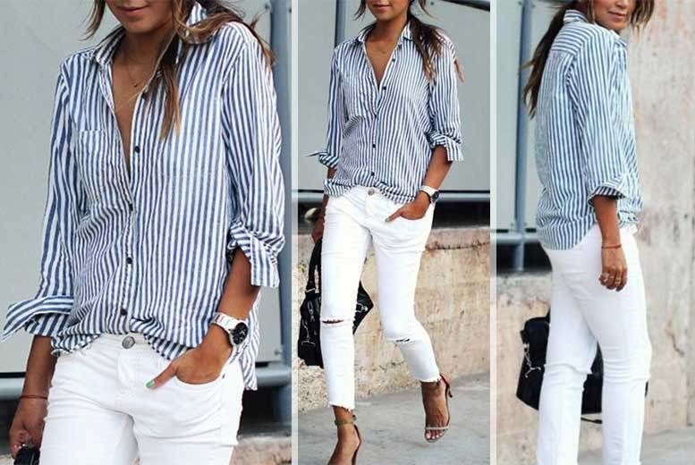 86842b2c647 Ladies  Blue   White Striped Shirt - UK Sizes 6-14!