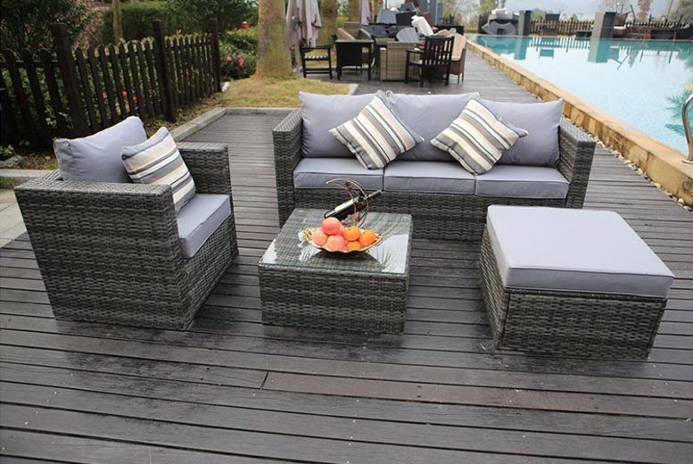 Monaco 5-Seater Rattan Garden Lounge Set & Cover Option - 3 Colours!