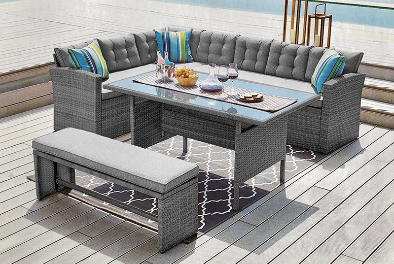 10-Seater Rattan Grey Garden Furniture Set with Cover (from £409)