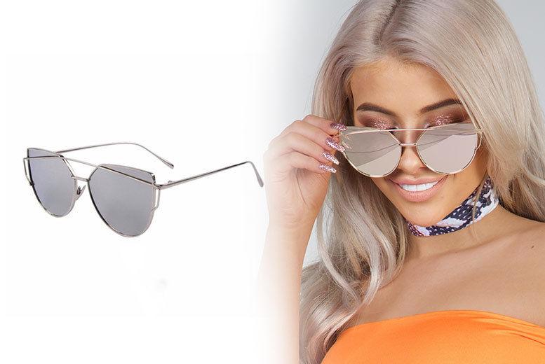 6b9a1c64cb7 Cat Eye Vintage Aviator Silver Sunglasses | Shop | Wowcher